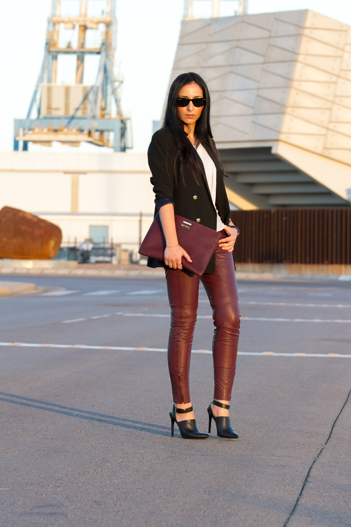 Urban chic style double breasted blazer and Muubaa berry leather pants trousers