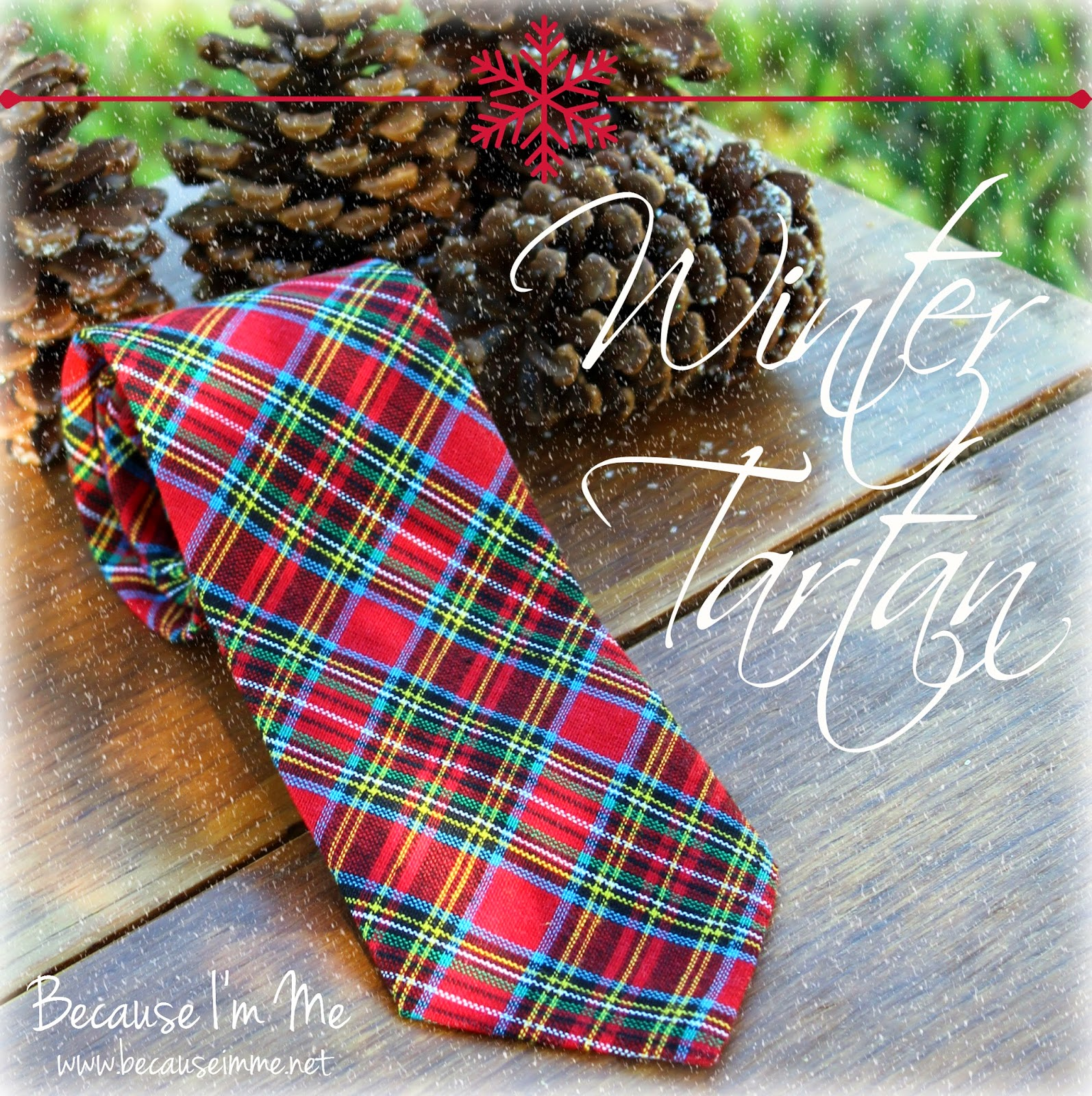 Because I'm Me winter tartan red plaid necktie, for both men and boys, great for Christmas and beyond
