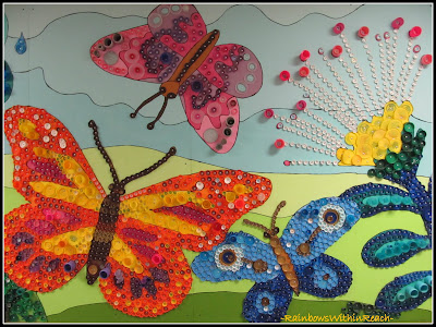 photo of: Recycled Materials create Butterfly Mural, UpCycle Design
