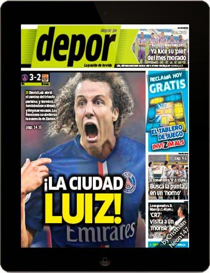 Diario Depor Perú (01 Octubre 2014) ESPAÑOL - ¡La ciudad Luiz! David Luiz abrió el camino del triunfo parisino
