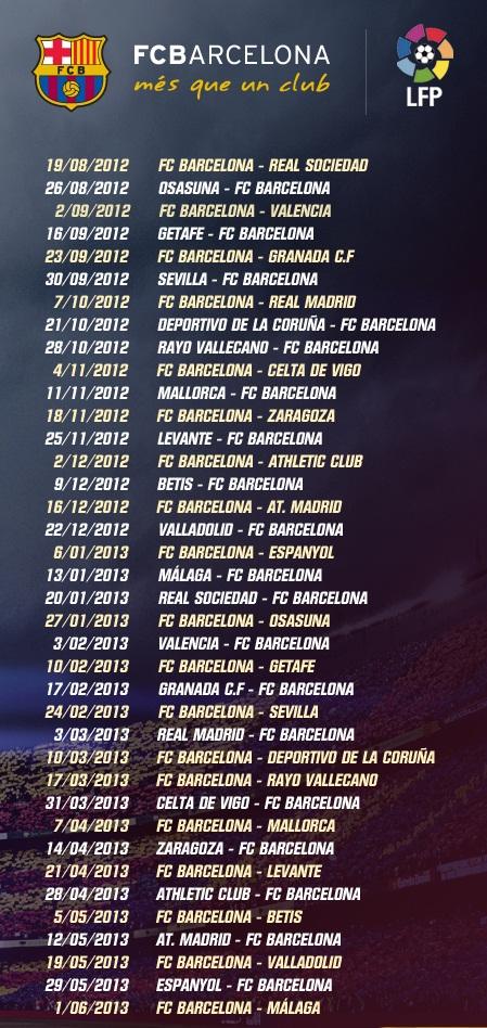 Jadwal lengkap pertandingan FC Barcelona musim 2012 - 2013