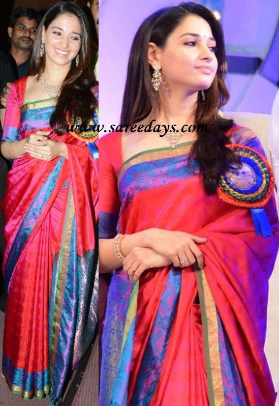 Latest saree designs tamanna in pink uppada pattu designer saree tamanna in pink uppada pattu designer saree altavistaventures Image collections