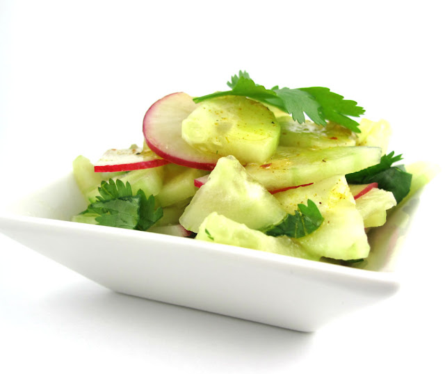 cucumber salad raw food radish curry cilantro recipe