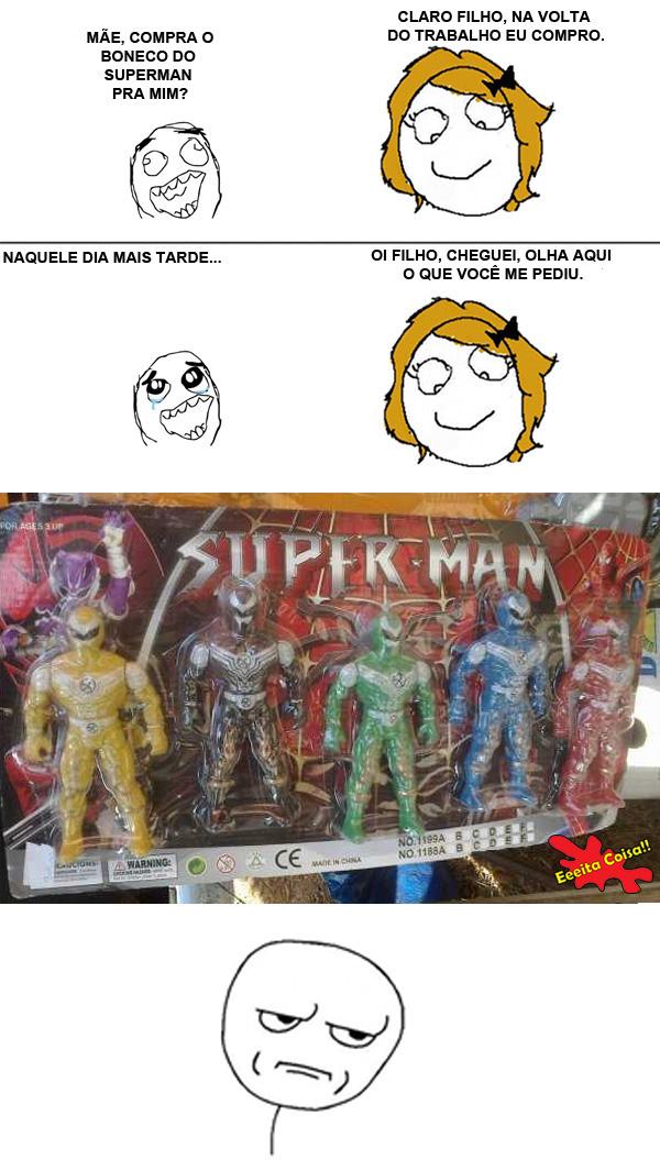 boneco, superman, spiderman, meme kidding me, eeeita coisa
