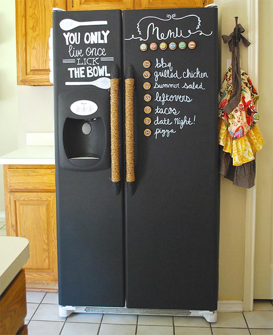 geladeira com tinta giz, geladeira pintada, chalckboard refrigerator
