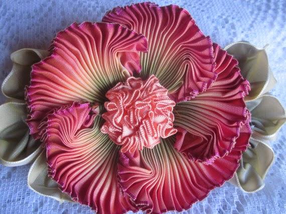 Cricutcraftyclare faux french ombre ribbon flowers with art glitter faux french ombre ribbon flowers with art glitter mightylinksfo