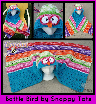 http://www.ravelry.com/patterns/library/battle-bird-hooded-owl-towel-and-blanket