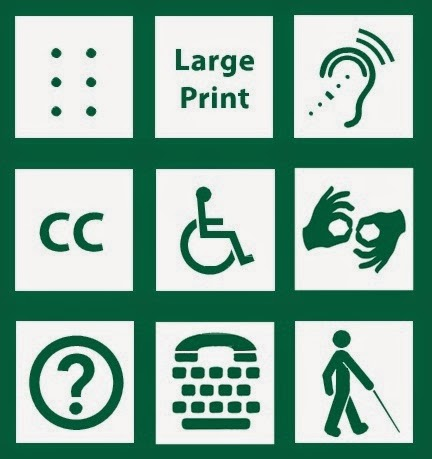 image that has the symbols that represents for public large print, braille, sign language, disability, closed captioning, TTY, blind and hard of hearing
