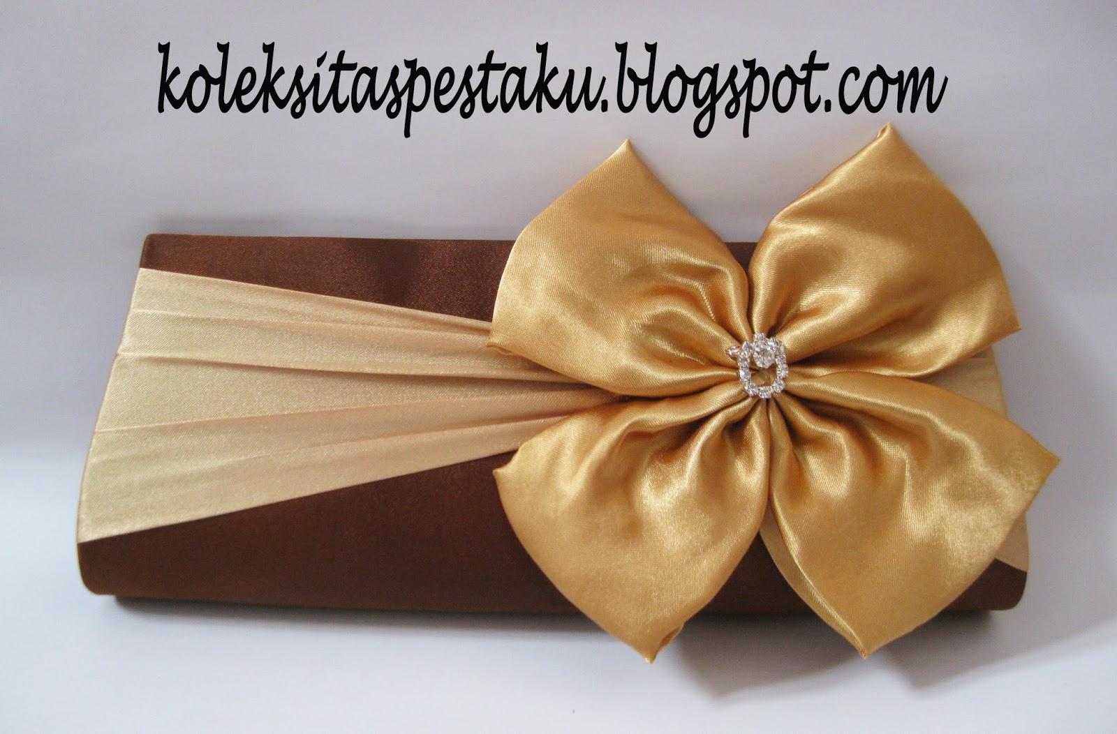 Tas Pesta Cantik Coklat Gold Bahan satin Mewah