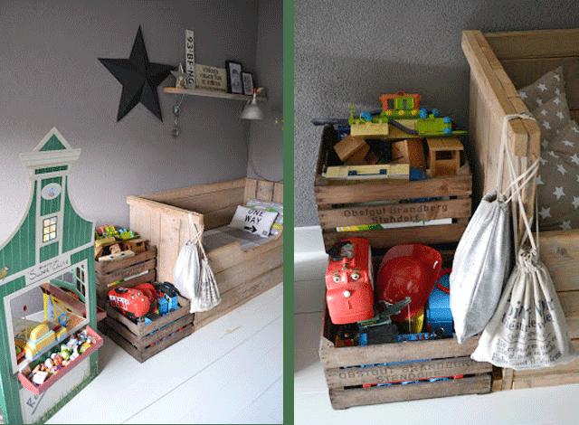 habitación-nino-gris-decoracion-infantil-cama-madera-cajas-fruta