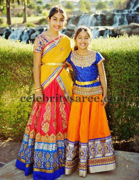 Girls in Varuna Jithesh Half Sarees