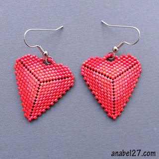 купить серьги из бисера сердца сердечки день влюбленных подарок 14 февраля