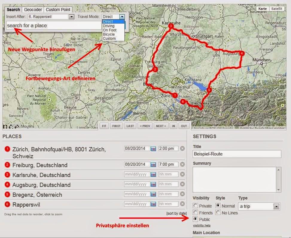 Einzelne Wegpunkte der Weltreise bzw der Route definieren