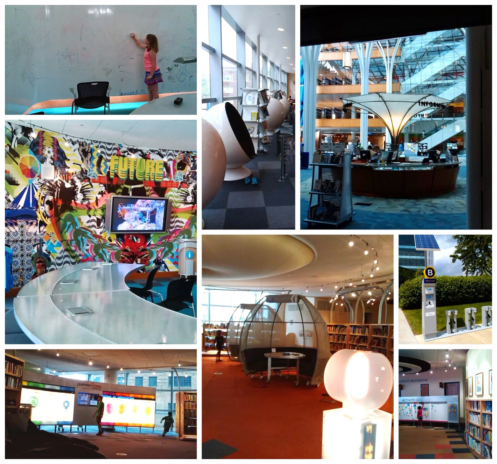 Study Pods, Think Tank, Kid's Activity Wall for Preschoolers, Pacer's Rent a Bike Program, and See-a-story spinning seats at The Learning Curve, Downtown Indianapolis, Indiana in the Central Library.