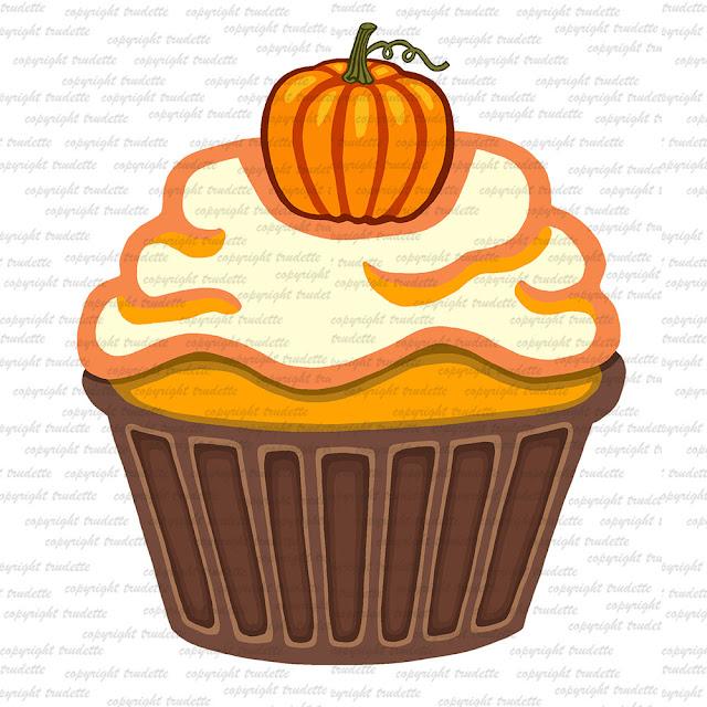 Thanksgiving Cake Clip Art : trudette: Pumpkin Cupcake Clipart