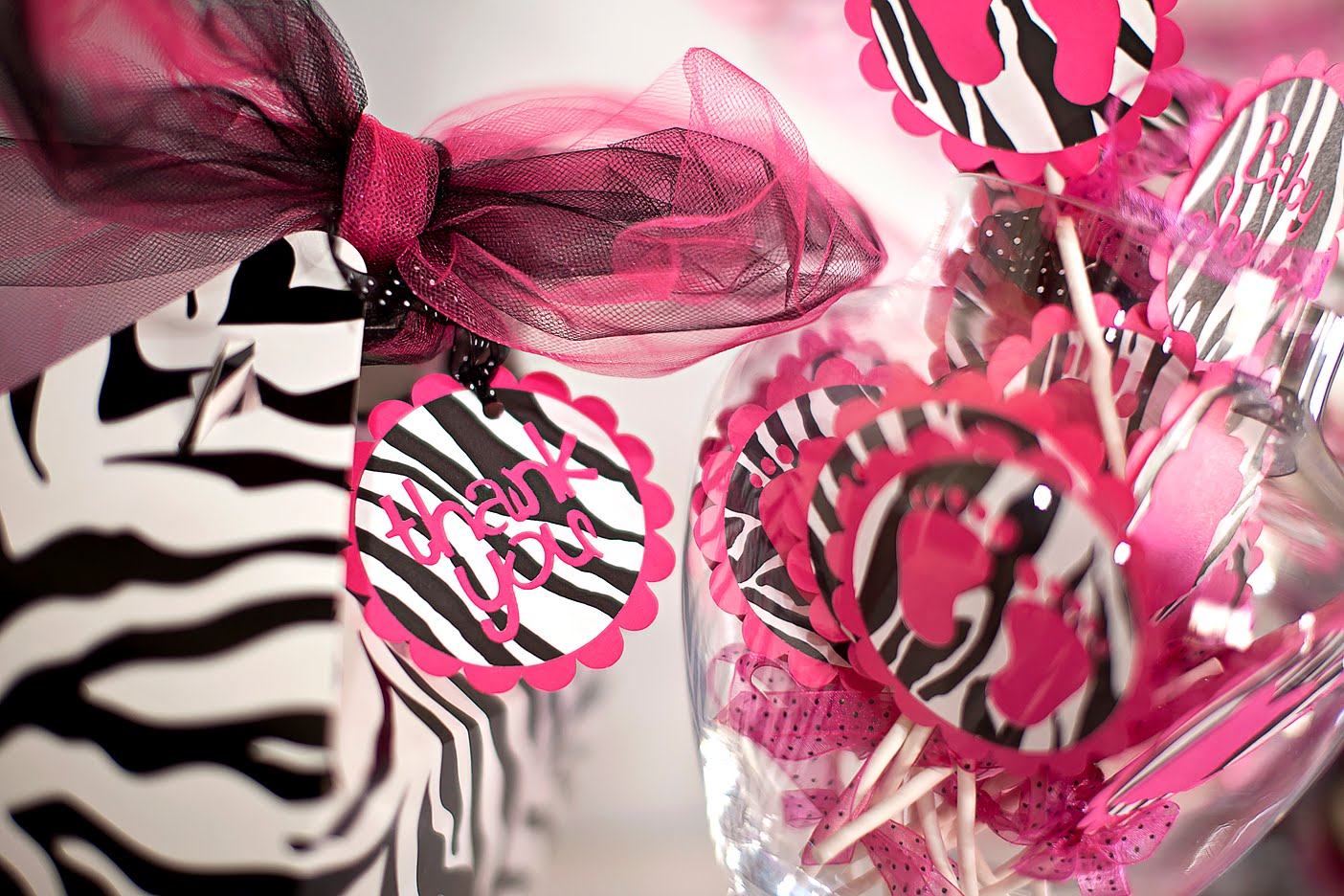 justbeccuz pink zebra baby shower cupcake toppers