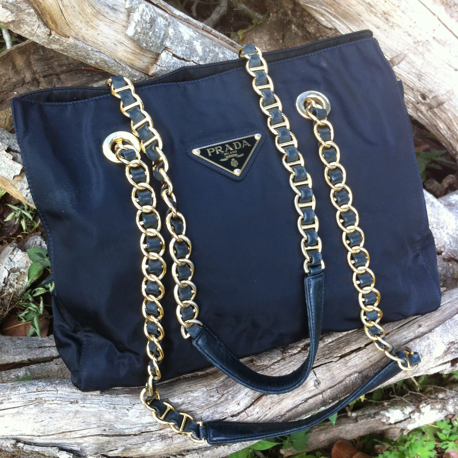 Prada Bag With Gold Chain