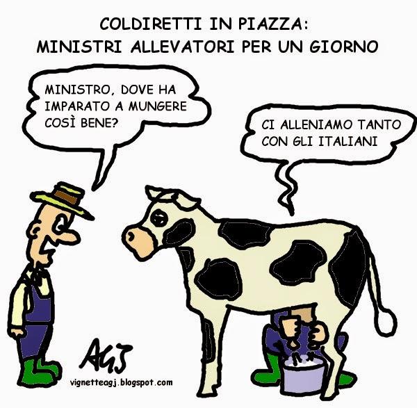 quote latte, prezzo latte, ministri, governo, coldiretti, vignetta , satira