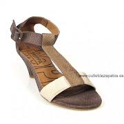 outlet de zapatos de mujer (sandalia marron combi )