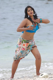 Bindu Madhavi Spotted on Beach Giving Pictures to Picturegrapher Spicy Blue Top