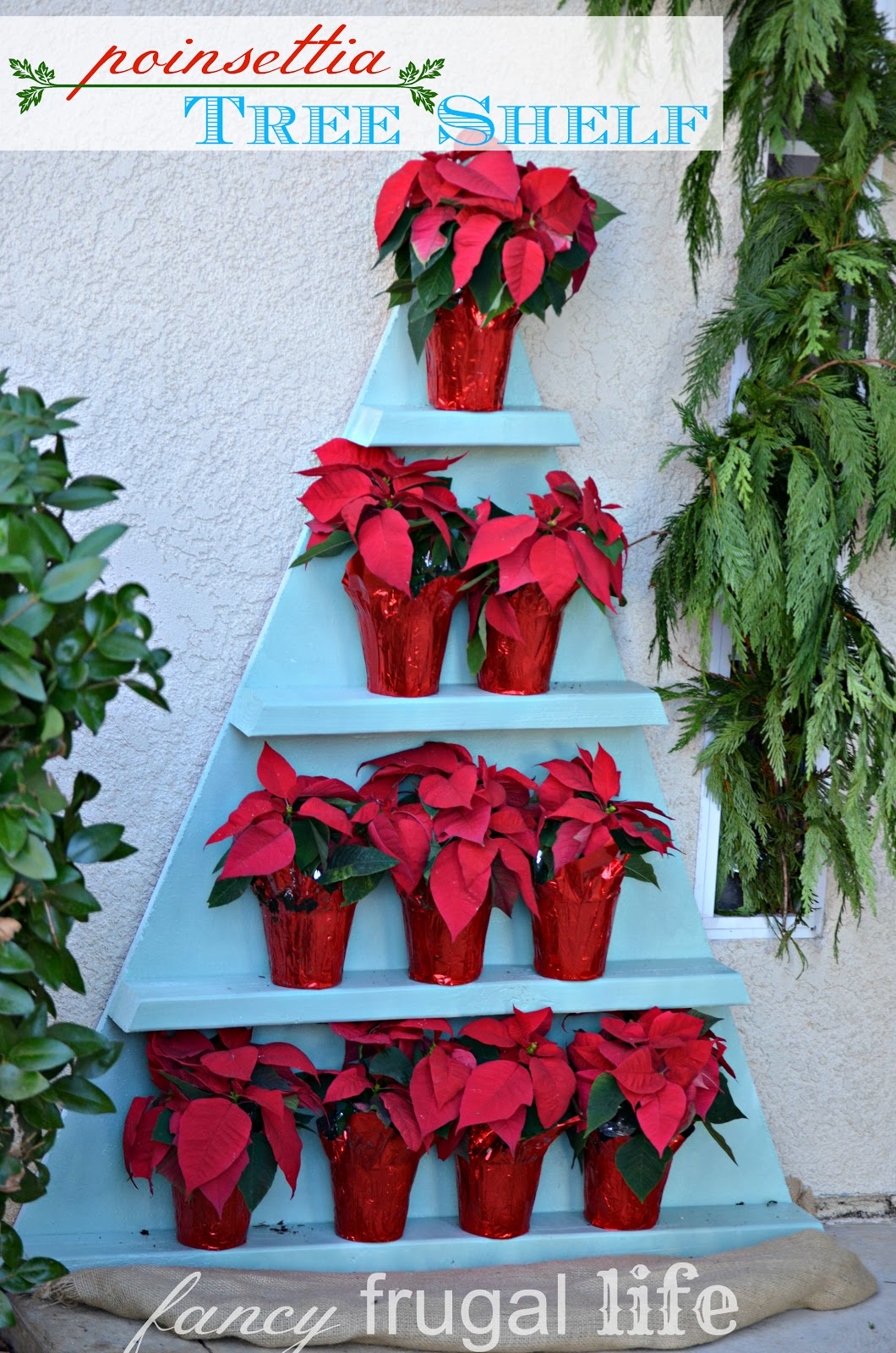 Stacked Poinsettia Tree Shelf Christmas Wreath Chandelier