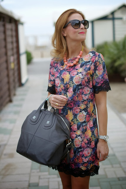 flowers and lace dress, Michael Kors silver watch, Givenchy Nightingale, Fashion and Cookies, fashion blogger