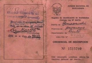 En 1978 se crea el Registro de identidad para analfabetos (RIA)