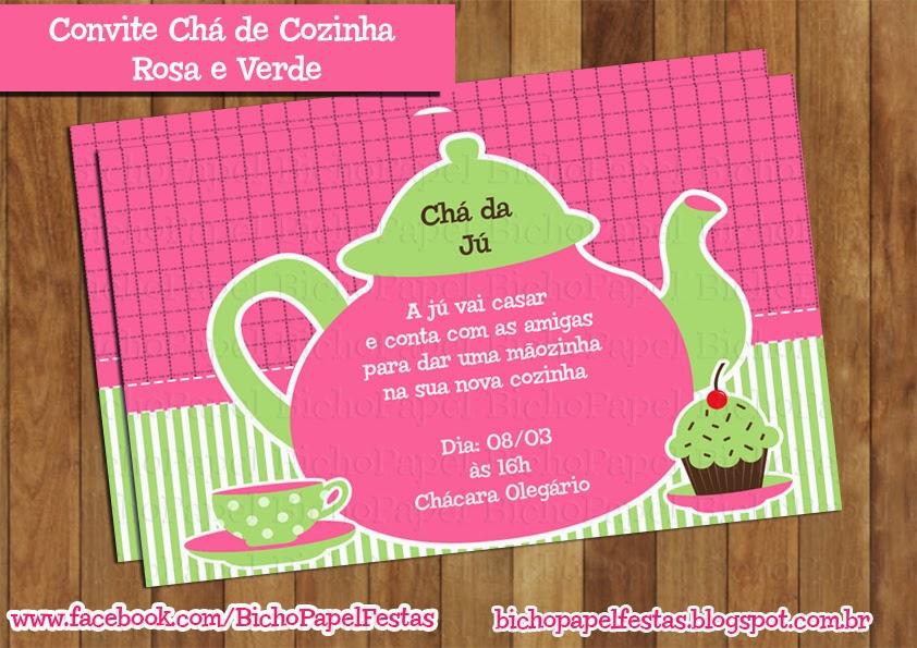 Arte Convite Chá de Cozinha Rosa e Verde