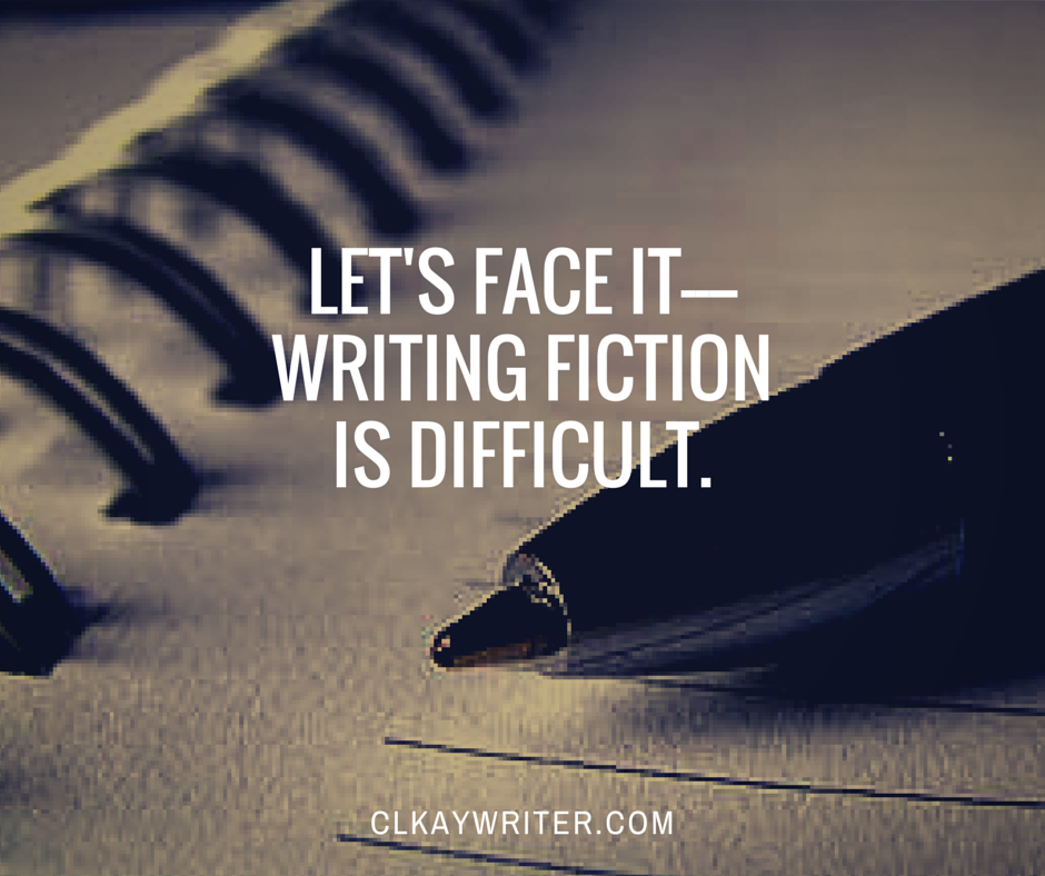clkaywriter.com C. L. Kay Writing Is Difficult Quote Pen And Notebook Blog Graphic
