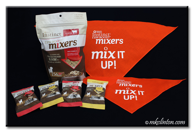 Bags of Instinct Raw Boost Mixers with 2 orange bandanas