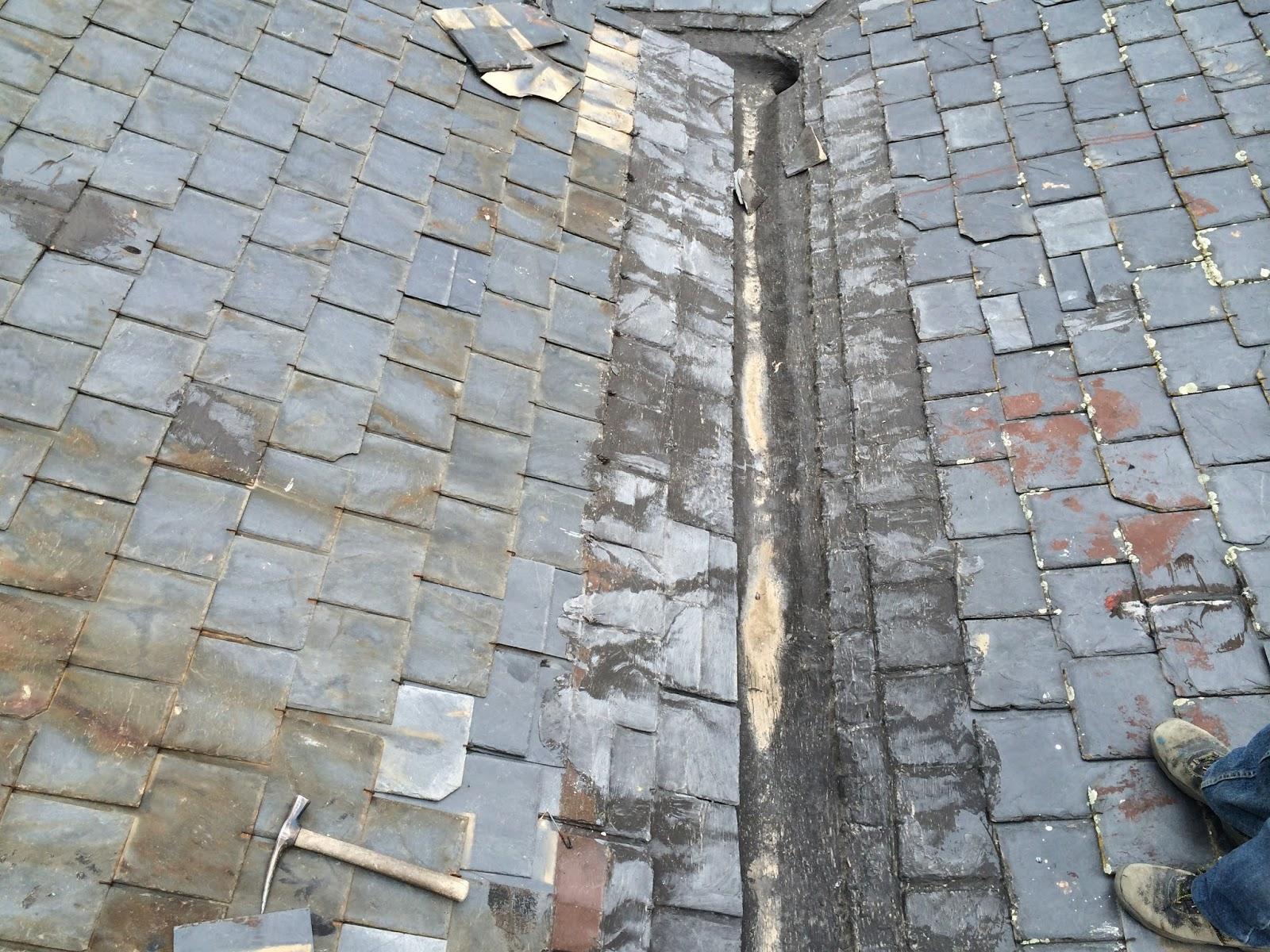 reparacion de tejados de pizarra canalon