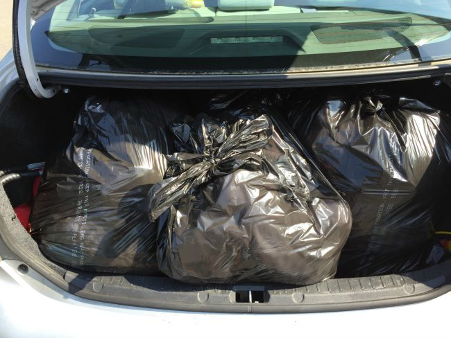 6 bags of donated clothing from KonMari organizing.