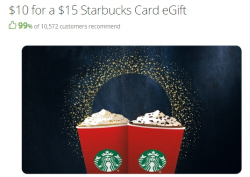 Groupon Starbucks $15 eGift Card for Only $10