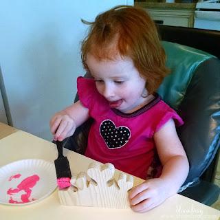 wood crafts, paint, glitter, ribbon, wood glue