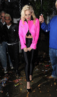 Gwen Stefani wearing a pink leather jacket