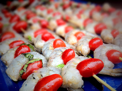 shrimp and tomato skewers, Louisiana seafood, recipe