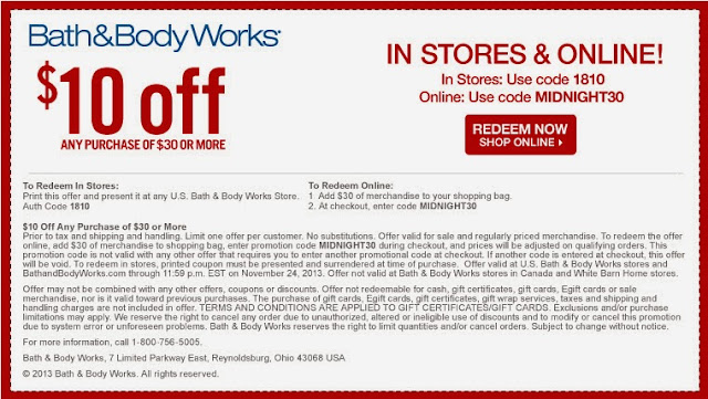Bath & Body Works $10 coupon, expires 11/24/13, @girlythingsby_e