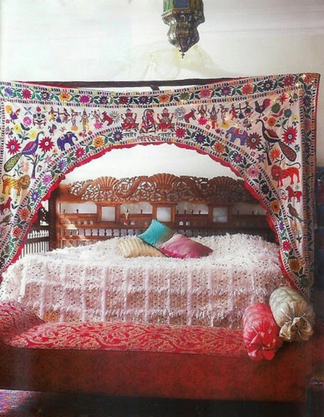 Carved Headboard And Indian Hanging On Teak Bed And Handira