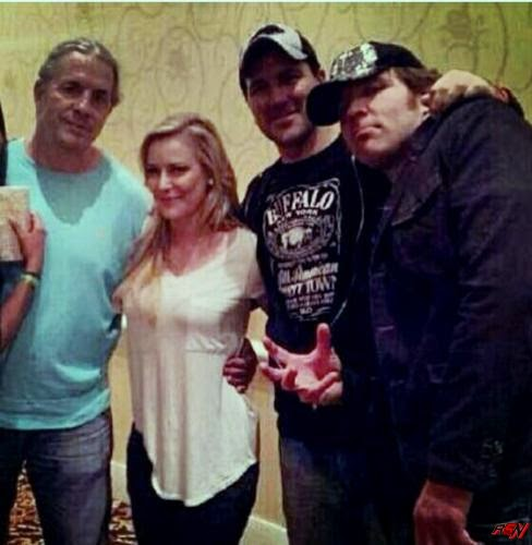 Dean Ambrose, Bret Hart, Renee Young And Friends Together.