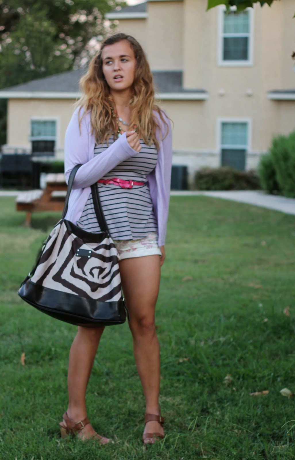 wet seal striped peplum and pastel flower shorts 2
