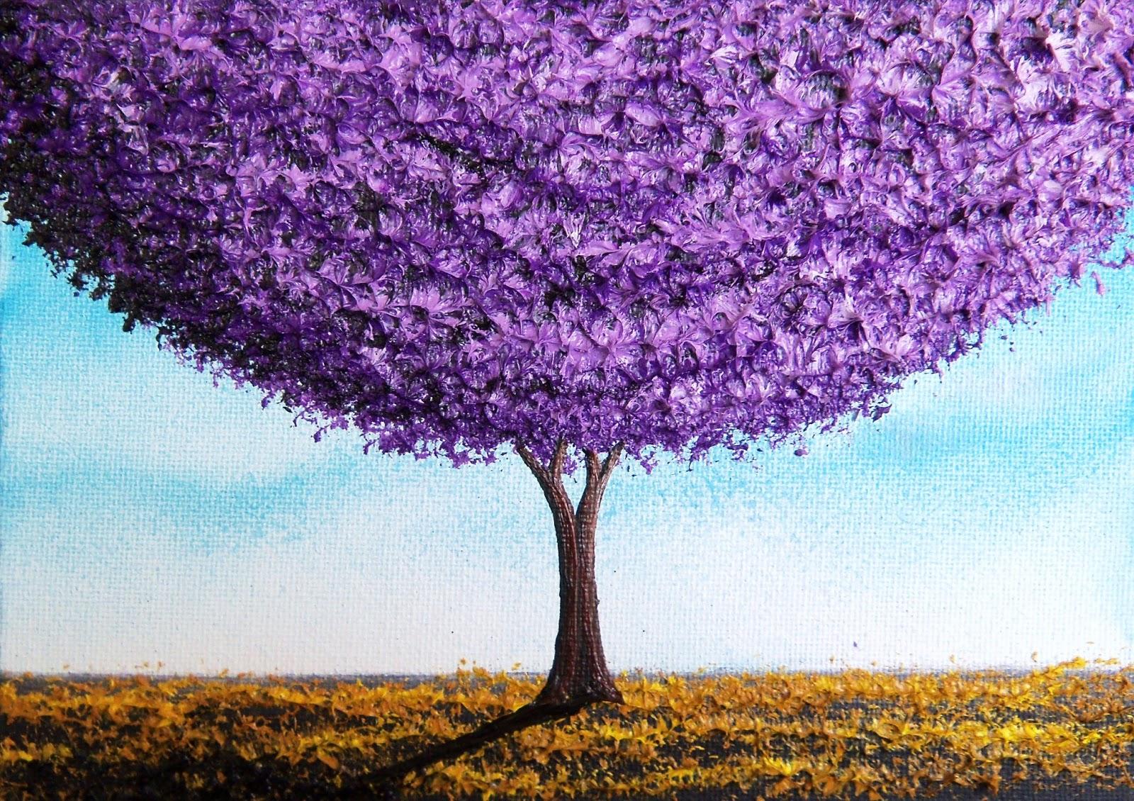bing art by rachel bingaman purple tree landscape