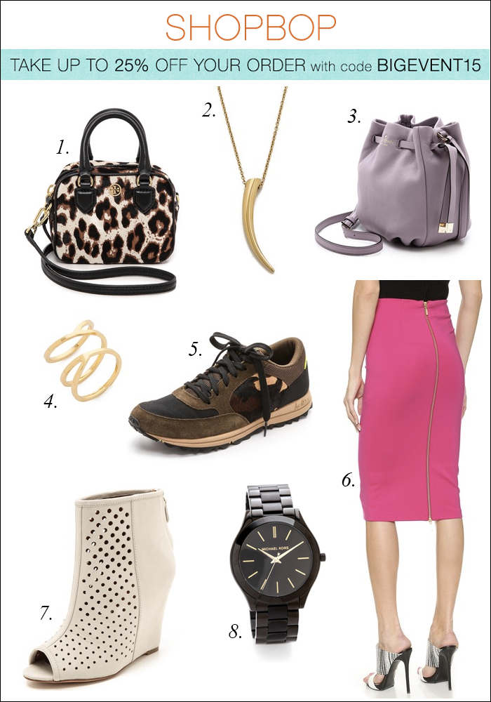 shopbop sale, kate spade mini bag, bucket bag, zipper skirt, sneakers, horn necklace, michael kors watch