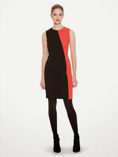 turuncu siyah dar kesim elbise