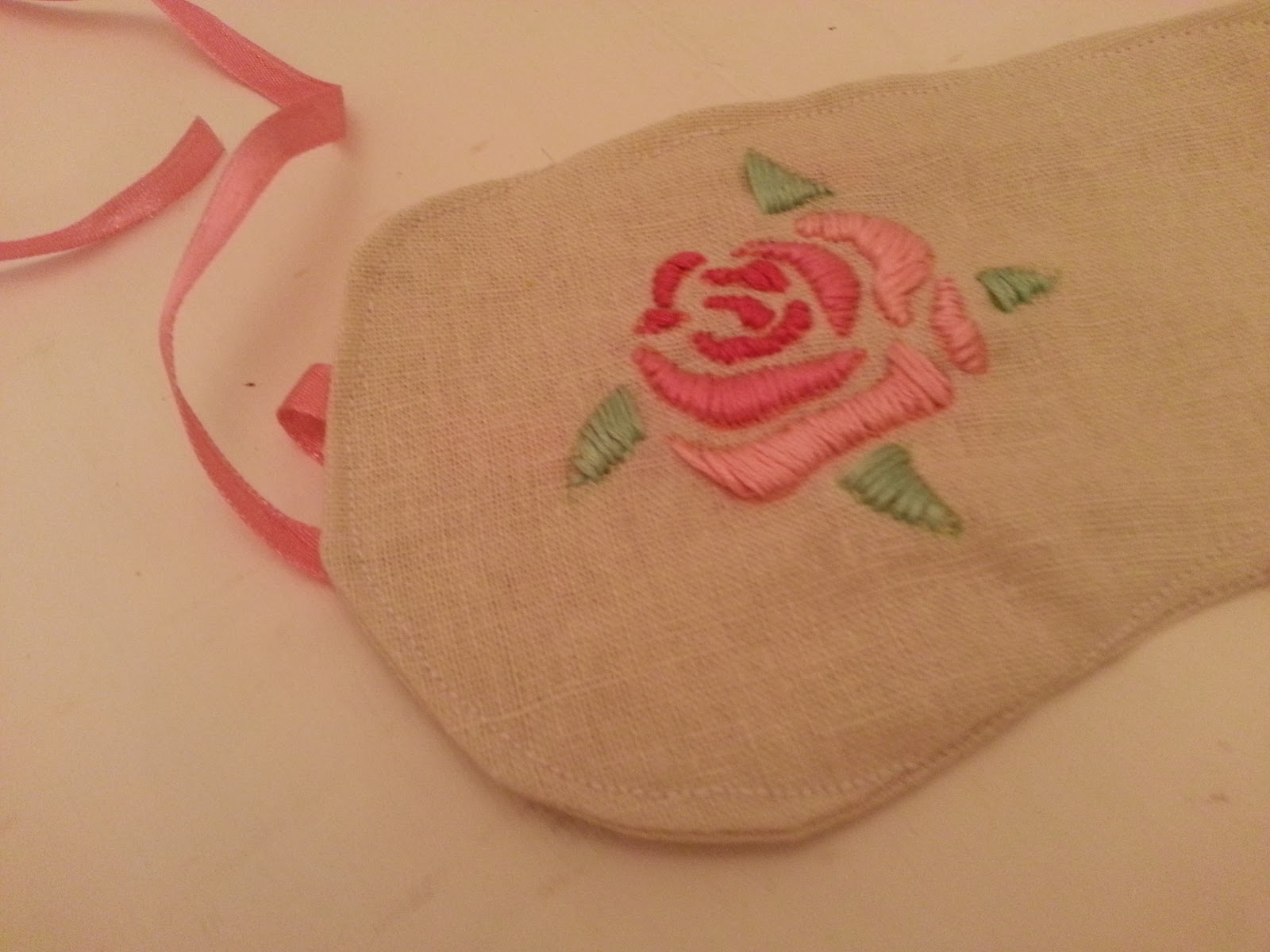 Rose Embroidery Eye Mask And Pattern Twigg Studios Someday Pink Floral Top Then I Turned It The Right Way Slid Ribbon In Gaps At Side Folded Edge Stitched All Around