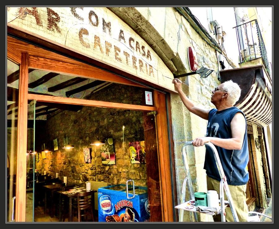 LETRERO-LETREROS-CAFETERIAS-PINTURA-COM A CASA-MANRESA-FOTOS-PINTANDO-ARTISTA-PINTOR-ERNEST DESCALS