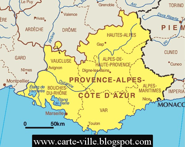 provence alpes cote d azur r gional carte de la ville. Black Bedroom Furniture Sets. Home Design Ideas