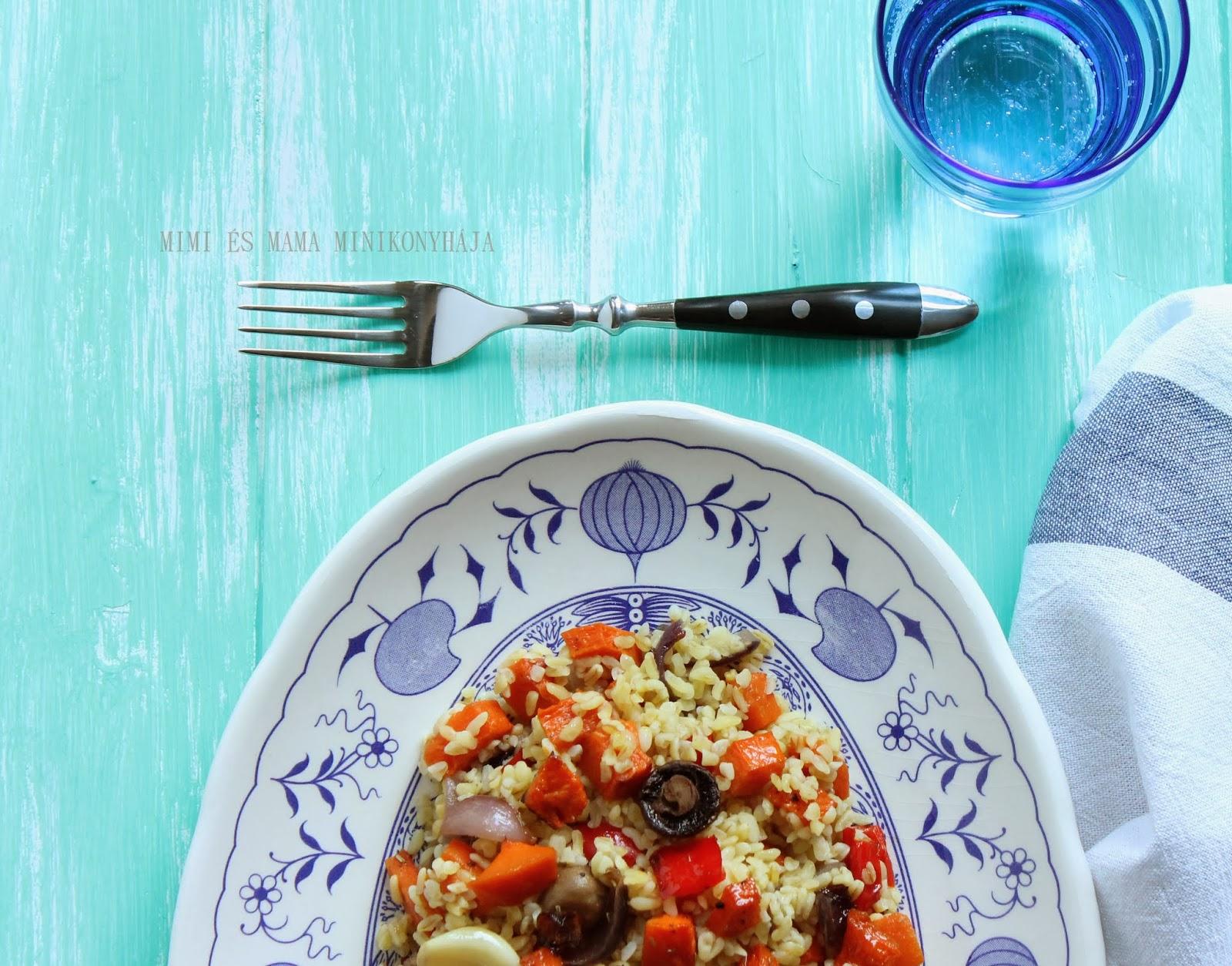 Téli bulgur saláta grillezett zöldségekkel