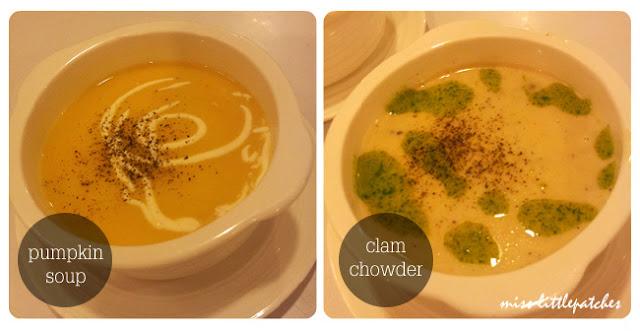 Pumpkin Soup; Clam Chowder