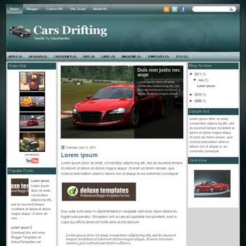 CarsDrifting blogger template. template blogspot magazine style. download white background blogger template