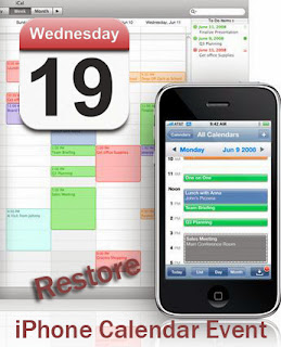 restore iPhone calendar event
